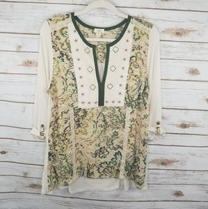 Tiny Elsinore green and cream embroidered top